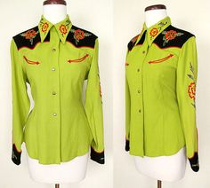 """Beautiful! [Amazing 1940's Chartreuse Gabardine Western Cowgirl Shirt with Embroidery by """"Vaquero Fashions""""  Rockabilly VLV Pinup Vixen Rodeo Size-Large]"""