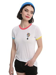 Disney Up Balloon House Embroidered Tricolor Girls Ringer T-Shirt, WHITE
