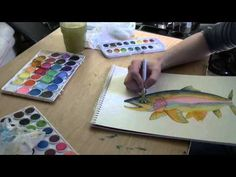 Big Rainbow-Beginning to end watercolor painting - YouTube