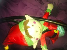 Our Naughty Elf pretending to be a Monkey swinging from Mummy's Headboard! December 2015