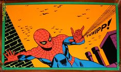 """thebristolboard: """"Three Marvel black light posters, published by Third Eye, """" Vintage Comics, Vintage Posters, Spiderman Poster, 70s Sci Fi Art, 6th Grade Art, Black Light Posters, Bristol Board, Tag Photo, Amazing Spiderman"""