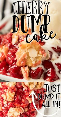With sweet cherry pie filling and layers of flavor and texture, this Cherry Dump Cake recipe is simple to make and delicious to eat warm with ice cream. Cherry Desserts, Cherry Pie Filling Desserts, Cherry Recipes, Fruit Recipes, Delicious Desserts, Desserts With Cherries, Cake Mix And Pie Filling Recipe, Dessert Recipes, Deserts