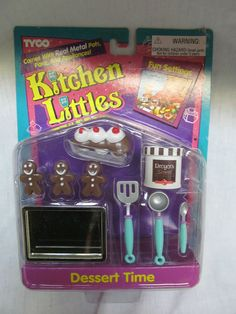 Kitchen Littles by Tyco were the most detailed realistic tiny foods, dishes, and appliances for Barbie-sized dolls. Unfortunately, Mattel bought out the company and never made comparable replacements.