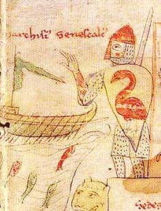Shield design of a pelican. Liber ad Honorem Augusti f?, c.1197, Palermo, Sicily.