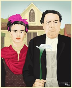 Frida Kahlo and Diego Rivera as American Gothic