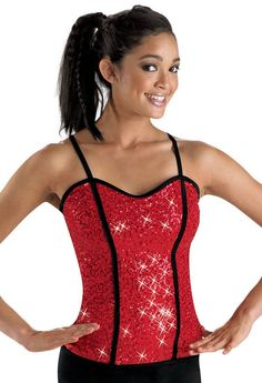 Sequined Corset-Style Dance Top -21.95