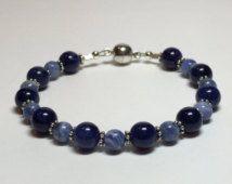 Sodalite Beaded Bracelet Genuine Gemstone Small Wrist Bracelet Large Wrist Bracelet Bridesmaid Gift Maid of Honor Gift Dark Blue Light Blue