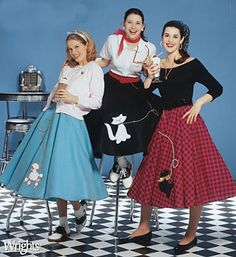 A quick retro time trip to the 1950s and a video featuring the iconic Circle Skirt.  They were inspired no doubt by the New look silhouette of Dior and Cardin, but unlike the more haute couture styles of pleated or gathered styles, a genuine circle skirt was totally a DIY affair, simply cut out from a large circle [ hence the name ] of cotton, muslin, or rayon silk, and could be made by anyone with a pair of scissors and an imagination for appliqued designs.