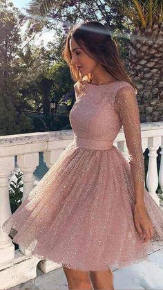 Long Sleeve Homecoming Dresses, Long Sleeve Short Dress, Dresses Short, Women's Dresses, Elegant Dresses, Dress Outfits, Evening Dresses, Dresses For Work, Formal Dresses