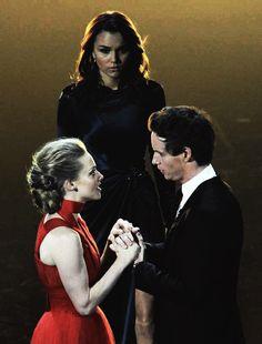 Samantha Barks, Amanda Seyfried and Eddie Redmayne