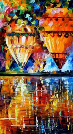 """Original Recreation Oil Painting on Canvas This is the best possible quality of recreation made by Leonid Afremov in person.  Title: Balloon Reflections Size: 20"""" x 36"""" Condition: Excellent Brand new Gallery Estimated Value: $  6,500 Type: Original Recreation Oil Painting on Canvas by Pale..."""