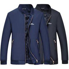 Mens Plus Size S-5XL Business Jacket Zipper Loose Casual Spring Autumn Polyester Coat at Banggood