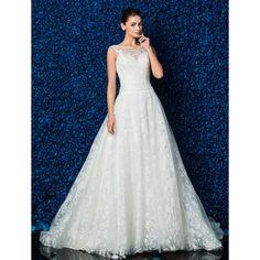 A-line Scoop Satin Chapel Train Wedding Dress