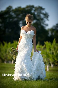 White sweetheart neckline strapless petal organza by Sunnabridal, $439.00