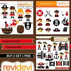 Pirate Clip art (3 packs) boys, girls, skull, ship