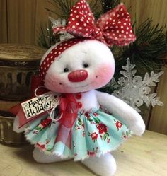 "Primitive HC Raggedy Snowman Snow Girl Snowflake Christmas Doll 7"" Super Cute! #IsntThatCute #Christmas"