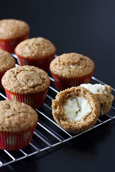 Inside Out Carrot Cake Muffins-cream cheese in the middle, yum! And coconut in the batter.