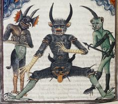 Medieval Reactions That Are Literally Your Life Devils waiting for the Last Judgement Livre de la Vigne nostre Seigneur, France, waiting for the Last Judgement Livre de la Vigne nostre Seigneur, France, Medieval Manuscript, Medieval Art, Illuminated Manuscript, Danse Macabre, Medieval Reactions, Gravure Photo, Medieval Paintings, Arte Obscura, Landsknecht