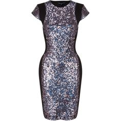 French Connection Lunar Sparkle Dress ($235) ❤ liked on Polyvore featuring dresses, charcoal gray dress, charcoal grey dress, charcoal dress, french connection and sparkly dresses