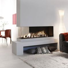 Fireplace Design Ideas, Dining Room Lounge Room Double Sided Fireplace Design Shaggy Rug Pillows — Exclusive double sided fireplace design ideas in modern home interiors Home Fireplace, Living Room With Fireplace, Fireplace Design, Fireplace Ideas, Fireplace Modern, Fireplace Glass, Simple Fireplace, Gas Fireplaces, Ethanol Fireplace
