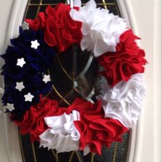 "Wreath I make and sell for 35.00. It's 14"" foam wreath with felt and wood. Celking@hotmail.com"