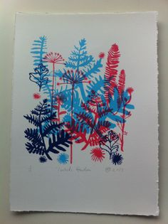 Isobel did some darling ink drawings from plants we picked on a walk, originally used for her Birthday invite, it just begged to be turned into this three colour silkscreen.'Isobel's Garden'.