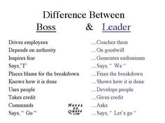 HLLW HR words: There def is a difference between a boss and a leader... Even if being a 'boss' like snoop dog sounds cooler, people seem to like leaders better.