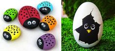 Risultati immagini per piedras pintadas a mano Pebble Mosaic, Pebble Art, Crafts To Make, Arts And Crafts, Owl Rocks, Stone Crafts, Colorful Paintings, Stone Art, Stone Painting