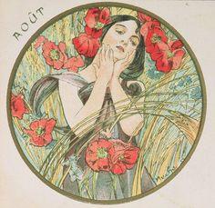 Alphonse Mucha | The Months - August, 1899.
