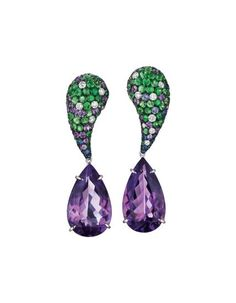 MARGHERITA BURGENER A Pair of Amethyst, Tzavorite Garnet, and Diamond Ear Pendants Each suspending a detachable pear-shape amethyst weighing approximately 25.36 carats in total, to the tear-drop shape surmount enhanced by pavé-set tzavorite garnets, diamonds, and amethysts, mounted in 18K white gold, length 2 inches.