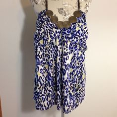 Miss Tina Blue Animal Print Halter Top XXL/20 Beautiful and sexy. Excellent condition. Miss Tina Tops