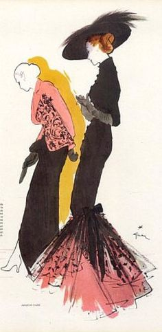 Fashion illustration by René Gruau, 1946, evening gowns by Molyneux and Jacques Fath.