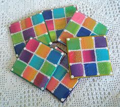 Set of 6 coasters - Resin Covered Polymer clay by klio1961