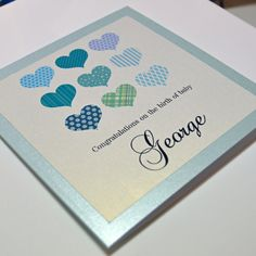 Personalised New Baby Card - Hearts on Etsy, $8.31 AUD