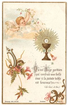 1897 Little Angel with Communion Chalice & Pink by 12StarsVintage