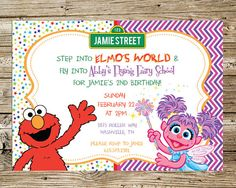Elmo and Abby Birthday Party Invitation by PrintsnPretties on Etsy