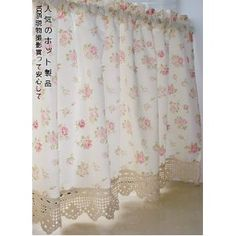 Shabby and Vintage Style Pretty Rose with Crochet Lace Cafe Curtain; helens room?