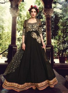 Black Pakistani abaya style anarkali dress in georgette