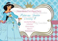 Printable Princess Jasmine, Aladdin Birthday Party Invitation plus free thank you card. $8.00, via Etsy.