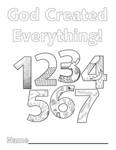Look to Him and be Radiant: Creation Numbers Really cool number coloring book tied into the days of creation, plus art ideas. Creation Coloring Pages, Bible Coloring Pages, Coloring Sheets, Coloring Books, Preschool Bible, Bible Activities, Sunday School Lessons, Sunday School Crafts, 7 Days Of Creation
