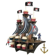 Pirate Ship Cupcake Cakestand Centrepiece complete with 4 pirates, 1 canon & a treasure chest!