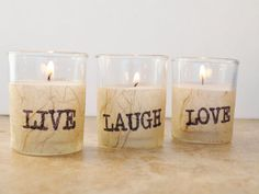 3 Wedding Votive Candles LIVE LAUGH LOVE Rustic By GreenOrchidDS