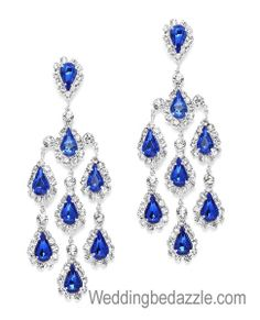 Rhinestone Chandelier Earrings Bridal Prom Pageant 3.9 inch Royal ...:Chandelier earrings glisten with royal blue crystals and Clear rhinestones.  The breathtaking shower of teardrop,Lighting