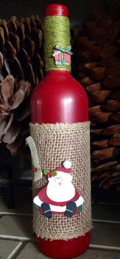 Christmas Handmade Personalized Decorative Wine Bottles by Addi Rose Creations on Etsy