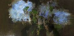 Blue Floral no.5 by Deborah  R Hill Oil ~ 24 x 12