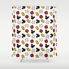 Buy Mickey Mouse icons Shower Curtain by waffleme. Worldwide shipping available at Society6.com. Just one of millions of high quality products available. Disney Bathroom, Bathroom Curtains, Shower Curtains, Disney Home, Next At Home, Mickey Mouse, Hooks, Color