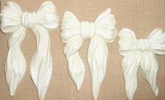 Vintage Wall Decor, Bows, White, Ribbons, Homco, Plastic, Set of Three, Shabby, Cottage Chic, Bows, Wall Art, Nursery Decor by TheBackShak on Etsy