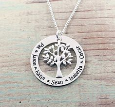 Personalized jewelry - Family tree necklace - Hand stamped sterling silver necklace - Gift for mom - Name necklace -- Visit the image link more details. (Amazon affiliate link)