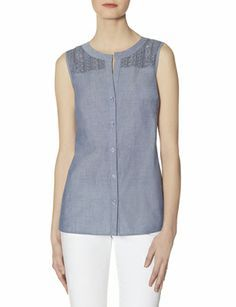 OBR Chambray Embroidered Yoke Top from THELIMITED.com #TheLimited