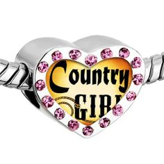 Pugster Pink Swarovski Crystal Gold Plated Music Theme Country Girl Photo Heart European Bead Bracelets Heart Silver Plated Beads Fits Pandora Charm Chamilia Biagi Bracelet Pugster. $16.49. Weight (gram): 2.8. Size (mm): 12.95*7.4*10.31. Color: Pink. Metal: Crystal